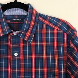 Nautica Plaid Long Sleeve Button-Down Shirt Size S
